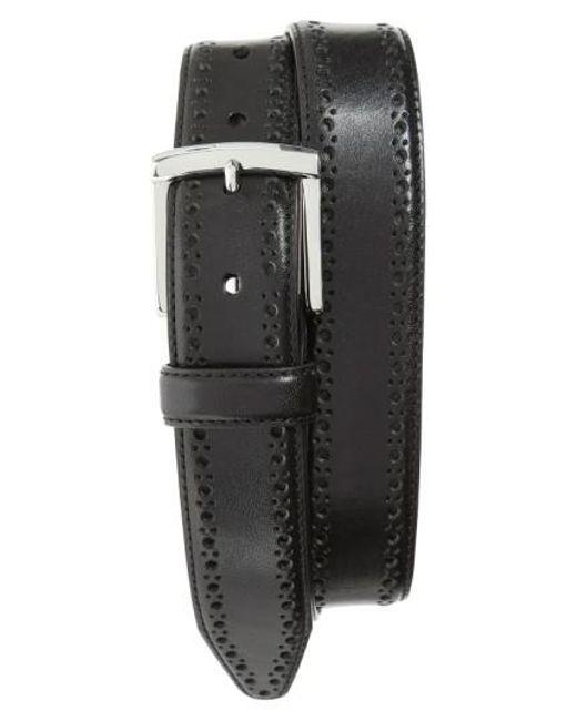 Johnston & Murphy | Black Perforated Leather Belt for Men | Lyst
