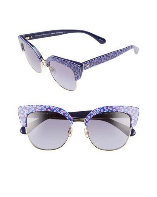 Kate Spade - Karri 53mm Sunglasses - Pattern Blue/ Blue - Lyst