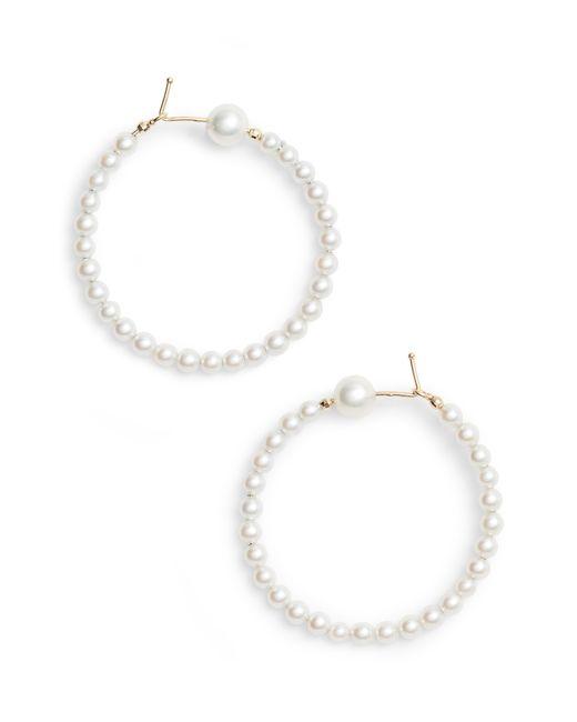 Mizuki - Metallic Pearl Hoop Earrings - Lyst