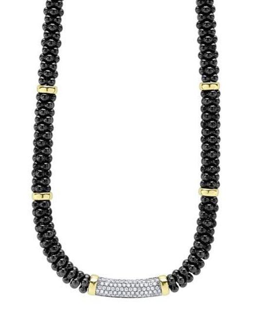 Lagos | Metallic 'black Caviar' 7mm Beaded Diamond Bar Necklace | Lyst