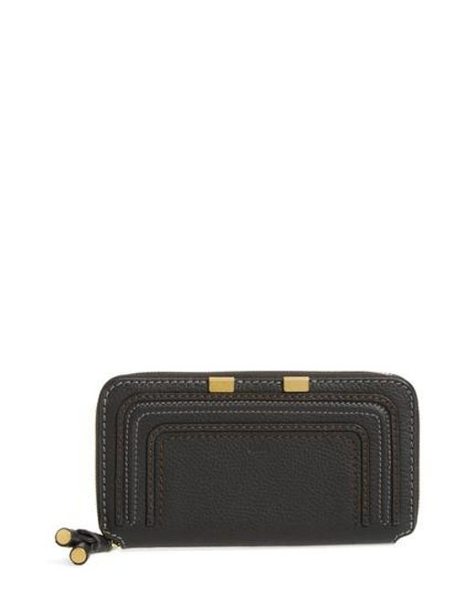 Chloé | Black 'marcie - Long' Zip Around Wallet | Lyst