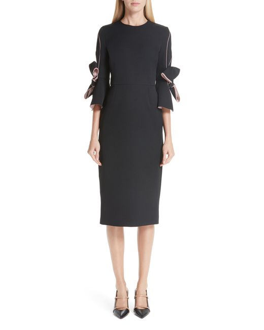 2eab1d9d1313 Lyst - ROKSANDA Bow Sleeve Crepe Sheath Dress in Black