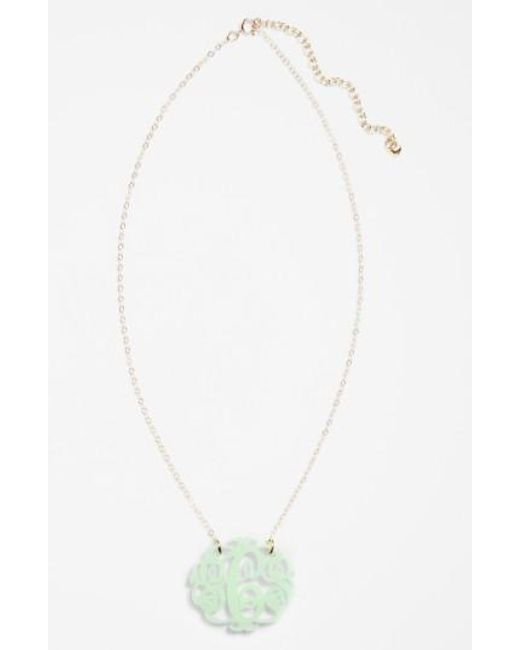 Moon & Lola - Green Medium Oval Personalized Monogram Pendant Necklace (nordstrom Exclusive) - Lyst