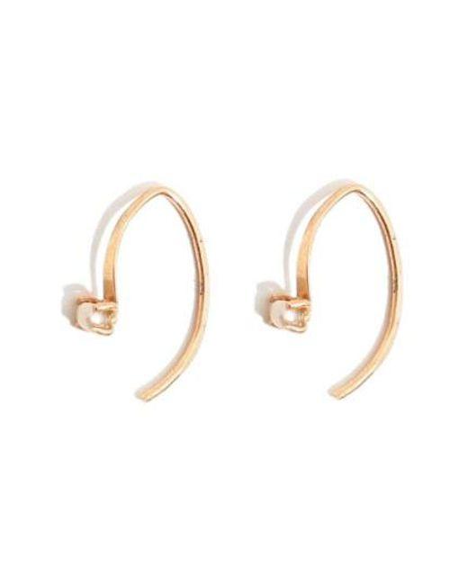 Melissa Joy Manning - Metallic 'mini Wishbone' Pearl Hoop Earrings - Lyst