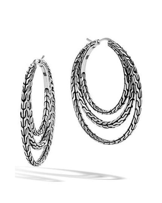 John Hardy Classic Chain Medium Hoop Earring UE5Qipcb