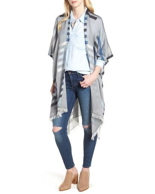 Echo - Blue Bay Stripe Yarn Dyed Ruana - Lyst