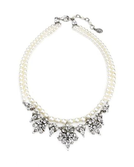 Ben-Amun | Metallic Faux Pearl & Crystal Collar Necklace | Lyst
