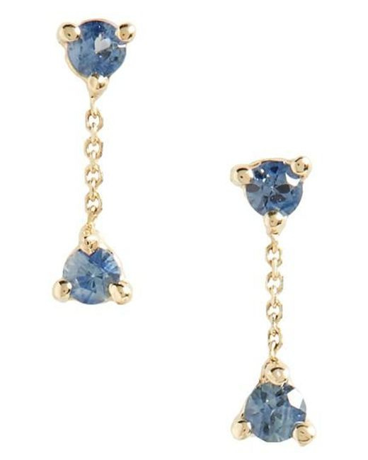 Wwake | Metallic Counting Collection Small Two-step Sapphire Drop Earrings | Lyst