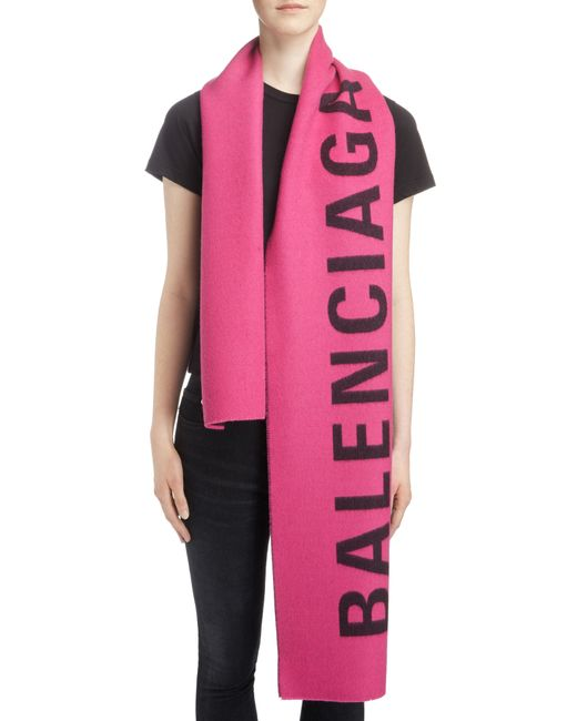 Balenciaga - Pink Logo Jacquard Wool Scarf - Lyst