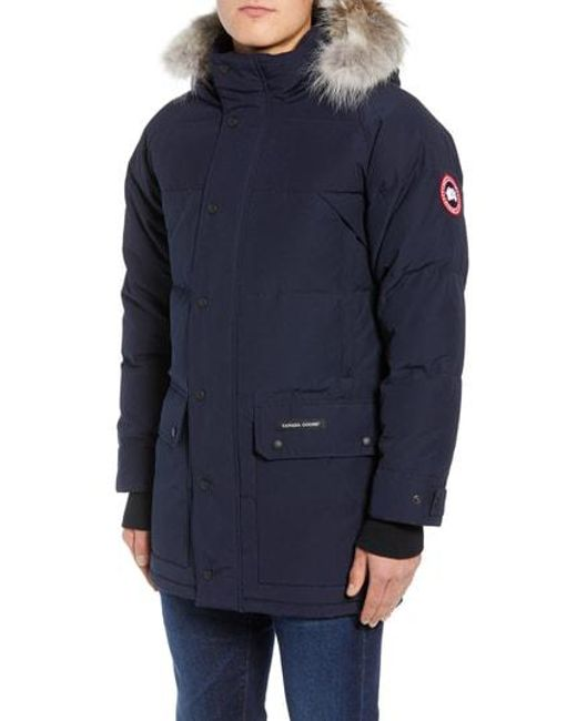 8f3e66c85852 Lyst - Canada Goose Emory Genuine Coyote Fur Trim Parka in Blue for Men