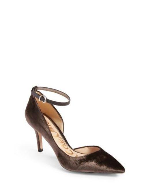 Sam Edelman | Gray Tia Ankle Strap Pump | Lyst