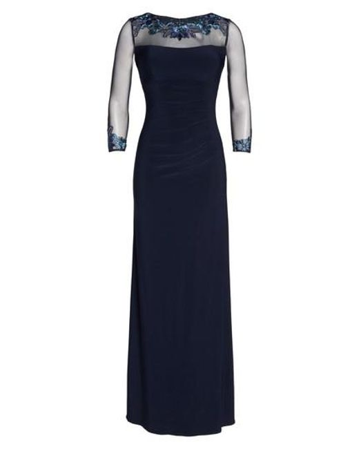 Eliza J | Blue Illusion Yoke Lace Fit & Flare Dress | Lyst