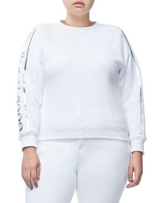 GOOD AMERICAN - White Crewneck Sweatshirt - Lyst