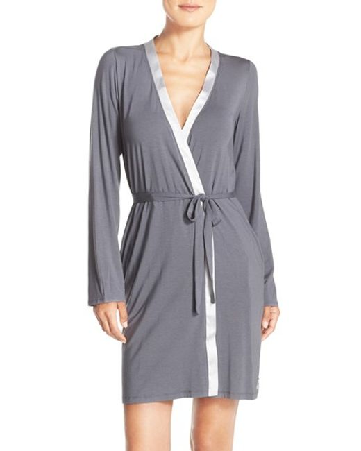 Calvin Klein | Gray 'essentials' Short Robe | Lyst