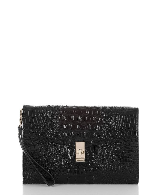 Brahmin - Black Ruth Croc Embossed Leather Clutch - Lyst