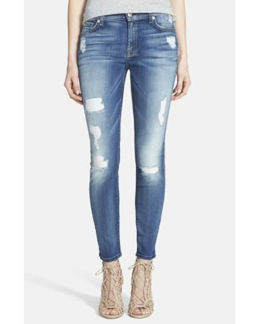 7 For All Mankind | Blue 7 For All Mankind Ripped Ankle Skinny Jeans | Lyst