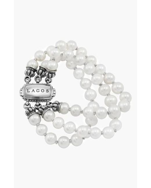 Lagos | Metallic 'luna' Triple Strand Pearl Bracelet (online Only) | Lyst
