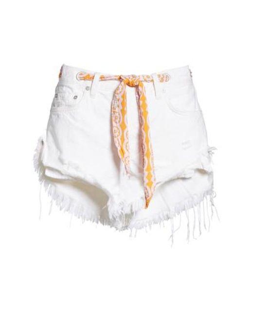 Free People - White Cutoff Denim Shorts - Lyst