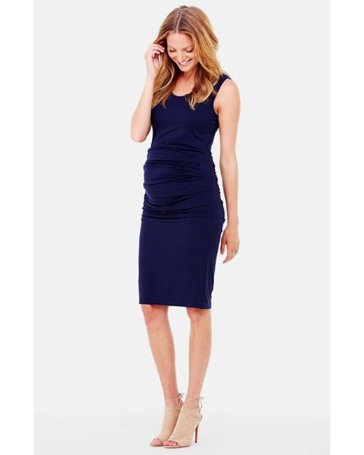 Ingrid & Isabel | Blue Ingrid & Isabel Ruched Maternity Tank Dress | Lyst