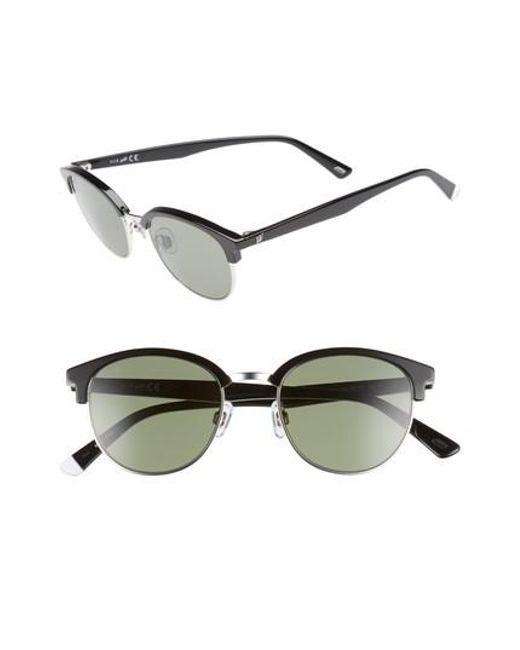 Web - 49mm Half Rim Sunglasses - Shiny Light Ruthenium/ Green - Lyst
