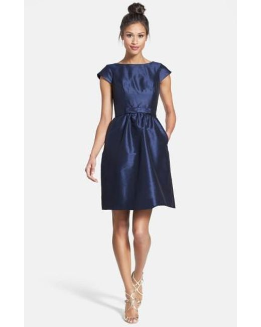 Alfred Sung | Blue Woven Fit & Flare Dress | Lyst