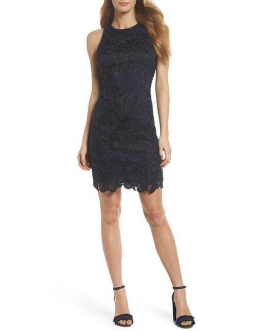 Eliza J - Blue Lace Sheath Dress - Lyst
