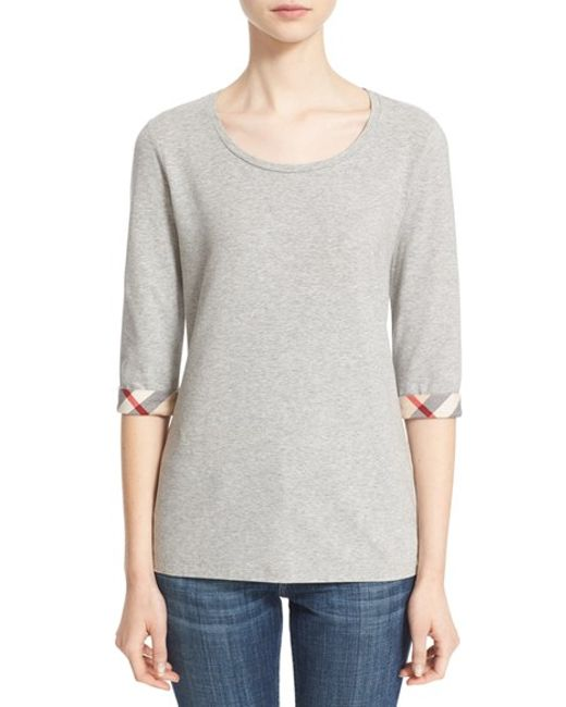 Burberry Brit | Gray Check Trim Tee | Lyst