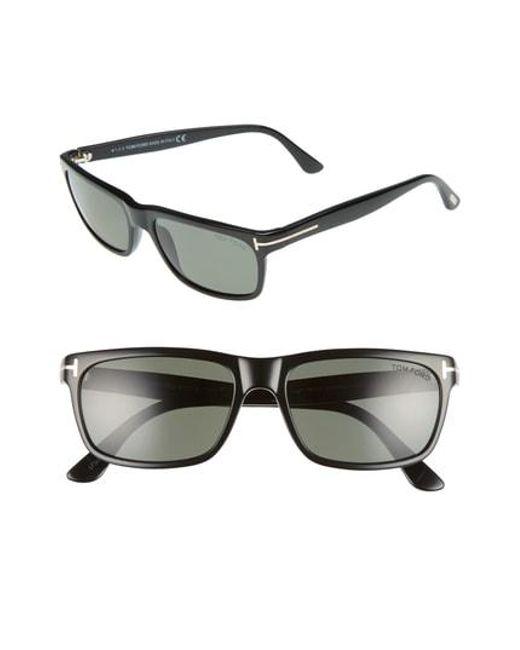 acbf2747f5 Tom Ford - Hugh 55mm Polarized Sunglasses - Shiny Black  Green for Men -  Lyst