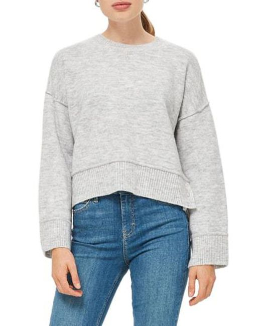TOPSHOP - Gray Mo Seam Detail Popper Sweater - Lyst