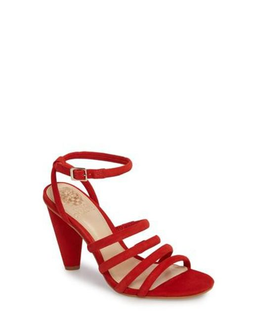 Vince Camuto - Red Kaniana Cone Heel Cage Sandal - Lyst