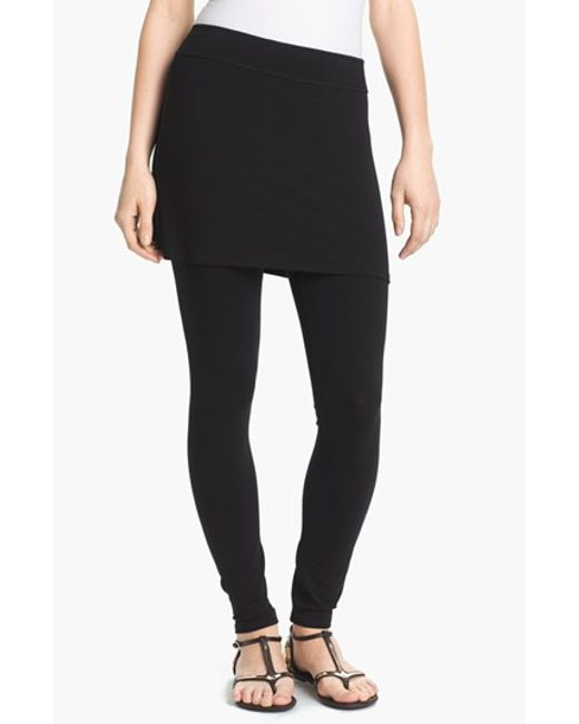 Eileen Fisher | Black Skirted Ankle Leggings | Lyst