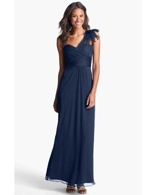 Amsale | Blue Illusion Shoulder Crinkled Silk Chiffon Dress | Lyst