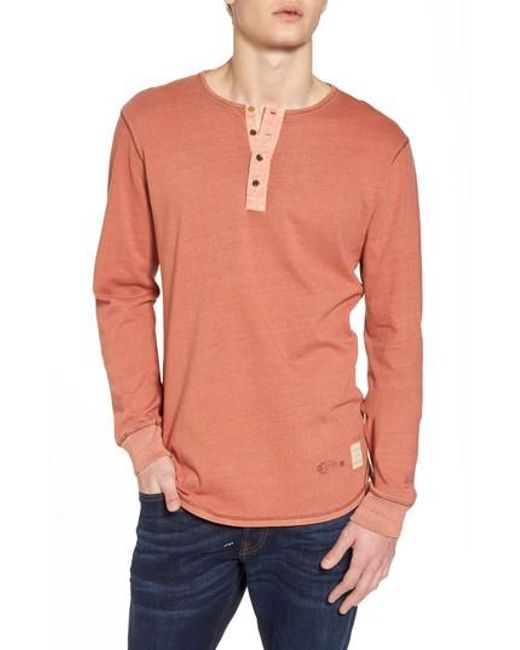 Scotch & Soda - Orange Granddad T-shirt for Men - Lyst