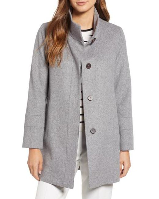 Fleurette - Gray Placket Front Wool Car Coat - Lyst
