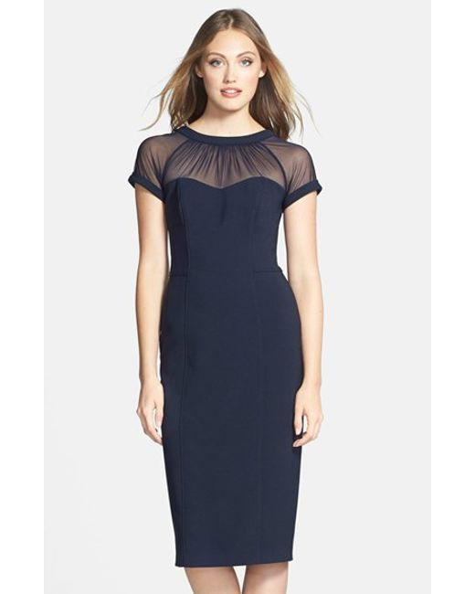 Maggy London | Blue Illusion-Yoke Crepe Sheath Dress | Lyst