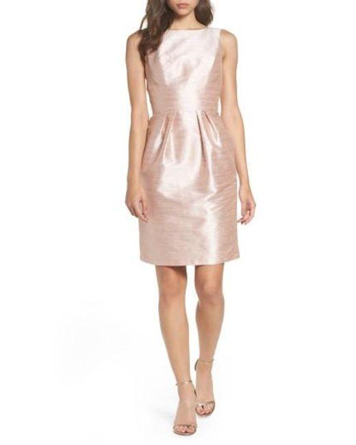 Alfred Sung | Pink Boatneck Sheath Dress | Lyst