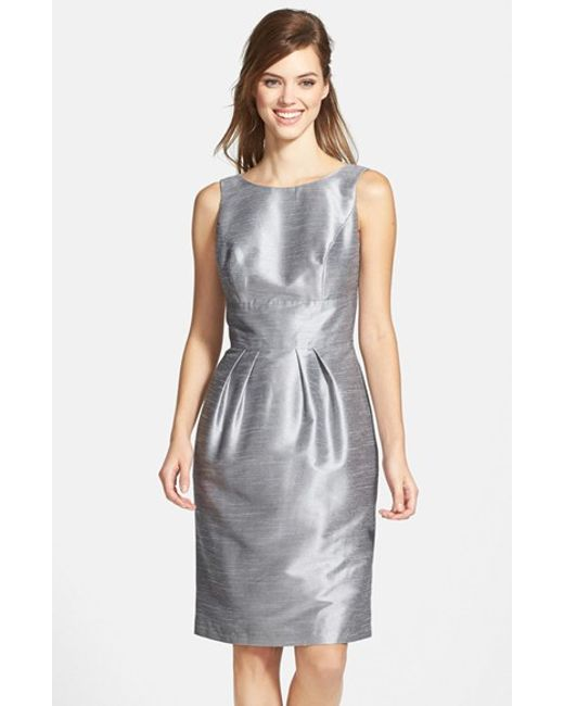 Alfred Sung | Metallic Boatneck Sheath Dress | Lyst