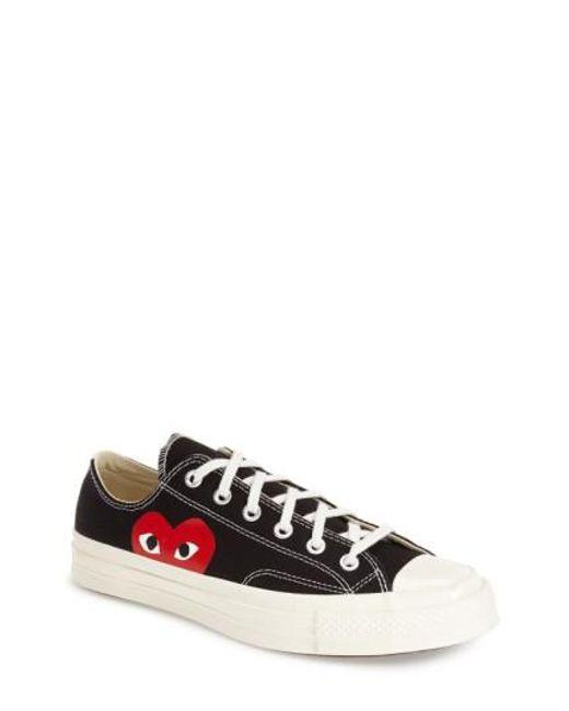 Comme des Garçons | White Large Emblem Low Top Canvas Sneakers | Lyst