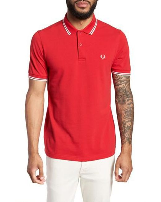 Fred Perry - Red Extra Trim Fit Twin Tipped Pique Polo for Men - Lyst
