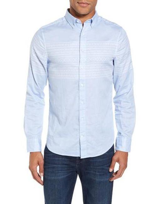 Gant 02 Extra Slim Fit Fair Isle Print Sport Shirt in Blue for Men ...