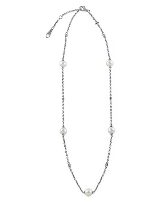 Lagos | Metallic 'luna' Pearl Station Necklace | Lyst