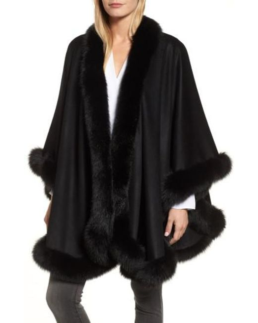 Sofia Cashmere | Black Genuine Fox Fur Trim Cape | Lyst