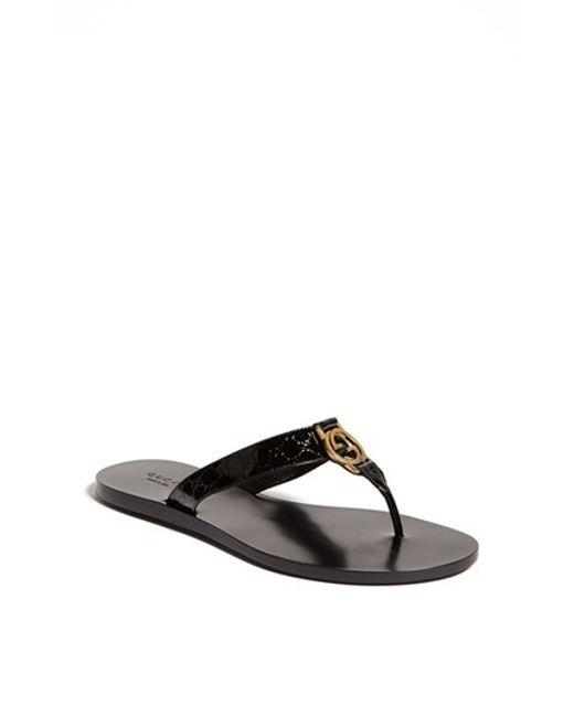 Gucci | Black Thong Sandal | Lyst