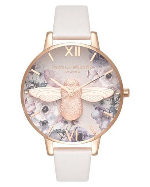 Olivia Burton - Pink Watercolor Floral Leather Strap Watch - Lyst