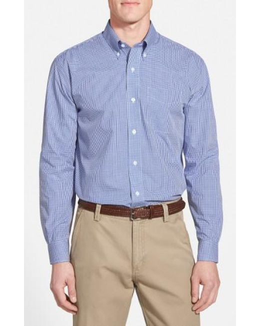 Cutter & Buck - Blue 'epic Easy Care' Classic Fit Wrinkle Free Gingham Sport Shirt for Men - Lyst