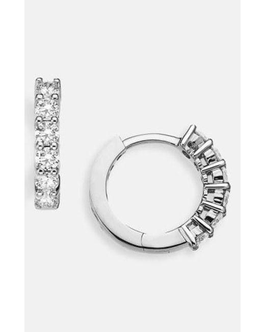 Roberto Coin - White Diamond Huggie Hoop Earrings - Lyst