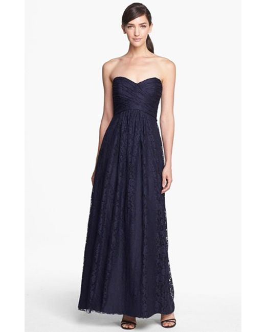 Amsale | Blue Pleated Lace Sweetheart Strapless Gown | Lyst