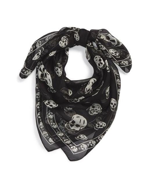 Alexander McQueen | Black Skull Print Silk Chiffon Scarf for Men | Lyst