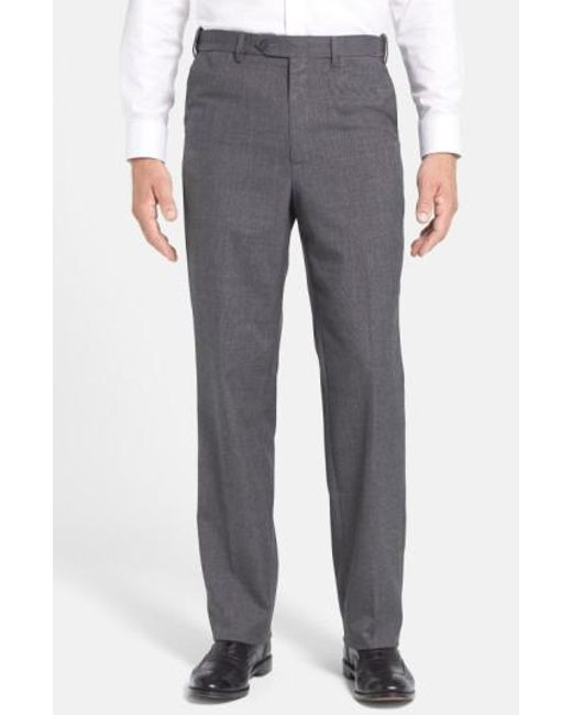 Berle | Gray Self Sizer Waist Tropical Weight Flat Front Trousers for Men | Lyst