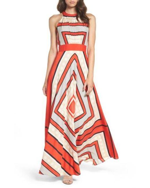 Eliza J   Multicolor Scarf Print Crepe De Chine Fit & Flare Maxi Dress   Lyst
